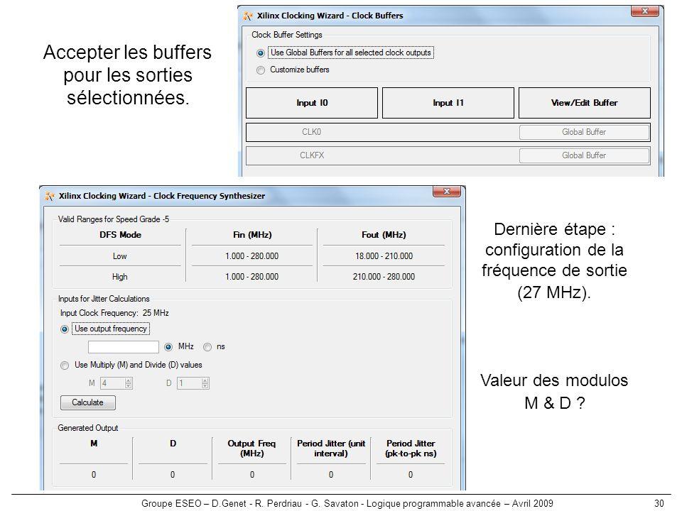 Groupe ESEO – D.Genet - R. Perdriau - G. Savaton - Logique programmable avancée – Avril 200930 Accepter les buffers pour les sorties sélectionnées. De