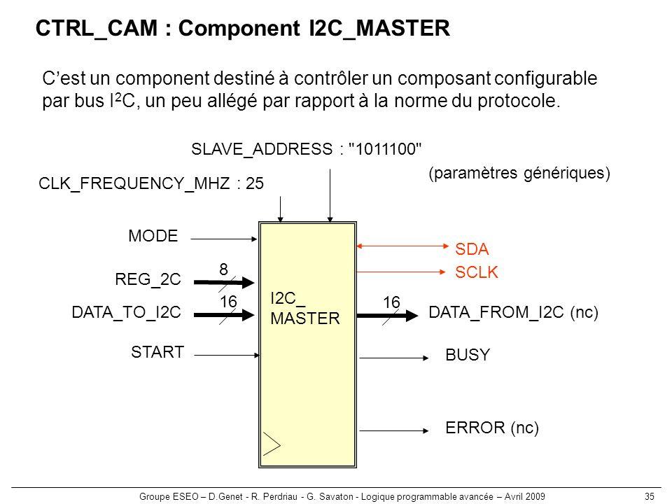 Groupe ESEO – D.Genet - R. Perdriau - G. Savaton - Logique programmable avancée – Avril 200935 CTRL_CAM : Component I2C_MASTER Cest un component desti
