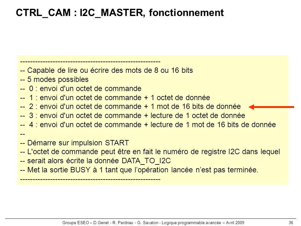 Groupe ESEO – D.Genet - R. Perdriau - G. Savaton - Logique programmable avancée – Avril 200936 CTRL_CAM : I2C_MASTER, fonctionnement -----------------