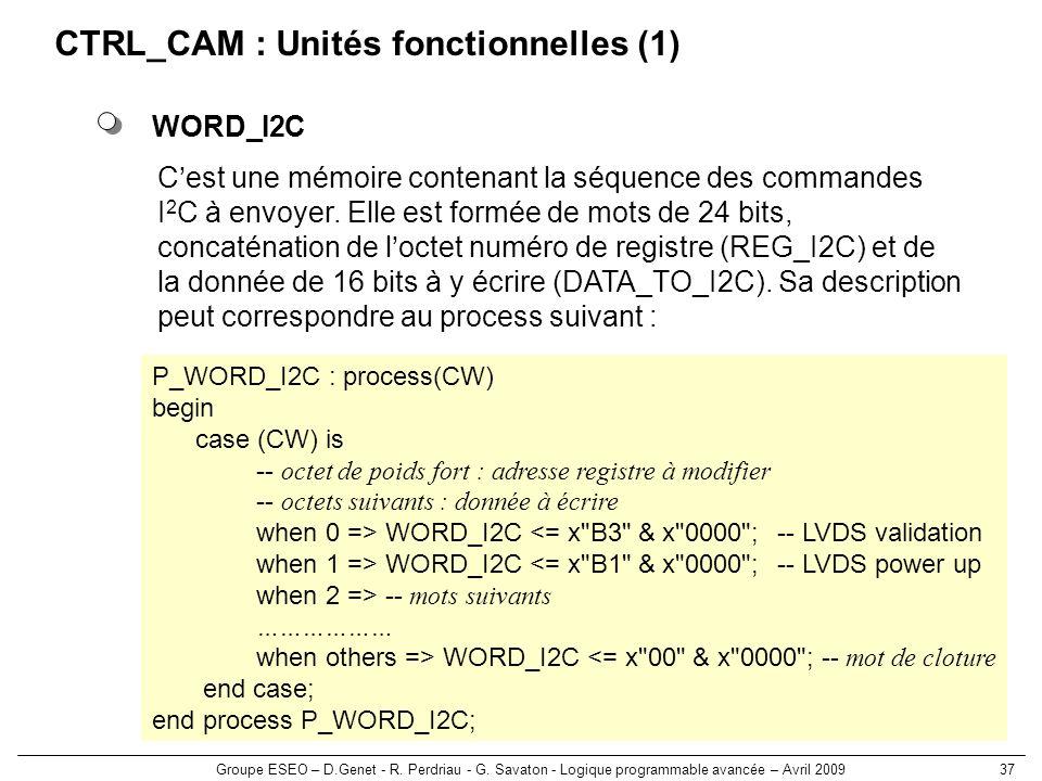 Groupe ESEO – D.Genet - R. Perdriau - G. Savaton - Logique programmable avancée – Avril 200937 CTRL_CAM : Unités fonctionnelles (1) WORD_I2C Cest une