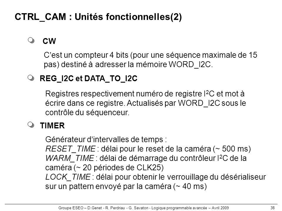 Groupe ESEO – D.Genet - R. Perdriau - G. Savaton - Logique programmable avancée – Avril 200938 CTRL_CAM : Unités fonctionnelles(2) REG_I2C et DATA_TO_