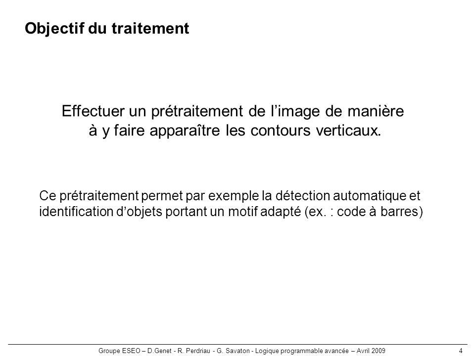 Groupe ESEO – D.Genet - R. Perdriau - G. Savaton - Logique programmable avancée – Avril 20094 Objectif du traitement Effectuer un prétraitement de lim