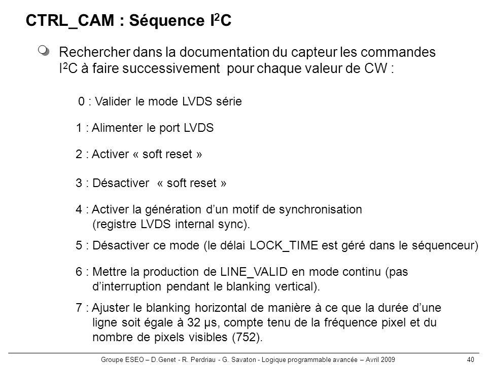 Groupe ESEO – D.Genet - R. Perdriau - G. Savaton - Logique programmable avancée – Avril 200940 CTRL_CAM : Séquence I 2 C Rechercher dans la documentat