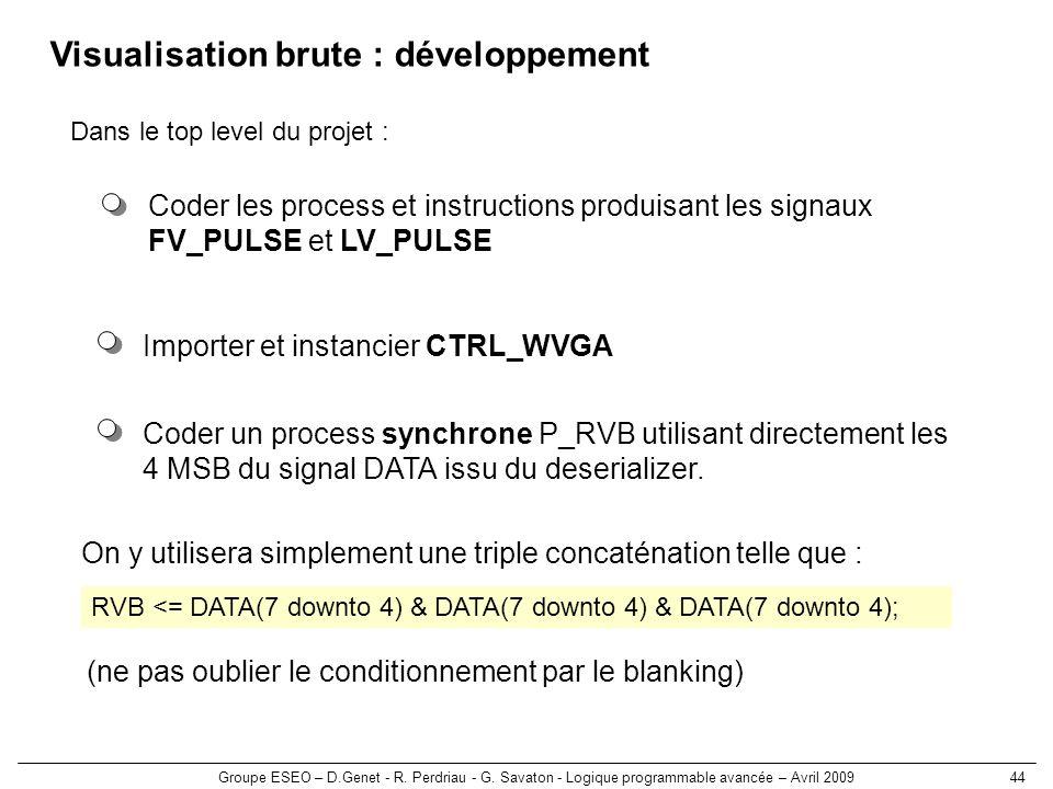 Groupe ESEO – D.Genet - R. Perdriau - G. Savaton - Logique programmable avancée – Avril 200944 Visualisation brute : développement Importer et instanc