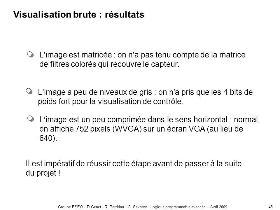 Groupe ESEO – D.Genet - R. Perdriau - G. Savaton - Logique programmable avancée – Avril 200945 Visualisation brute : résultats Limage a peu de niveaux