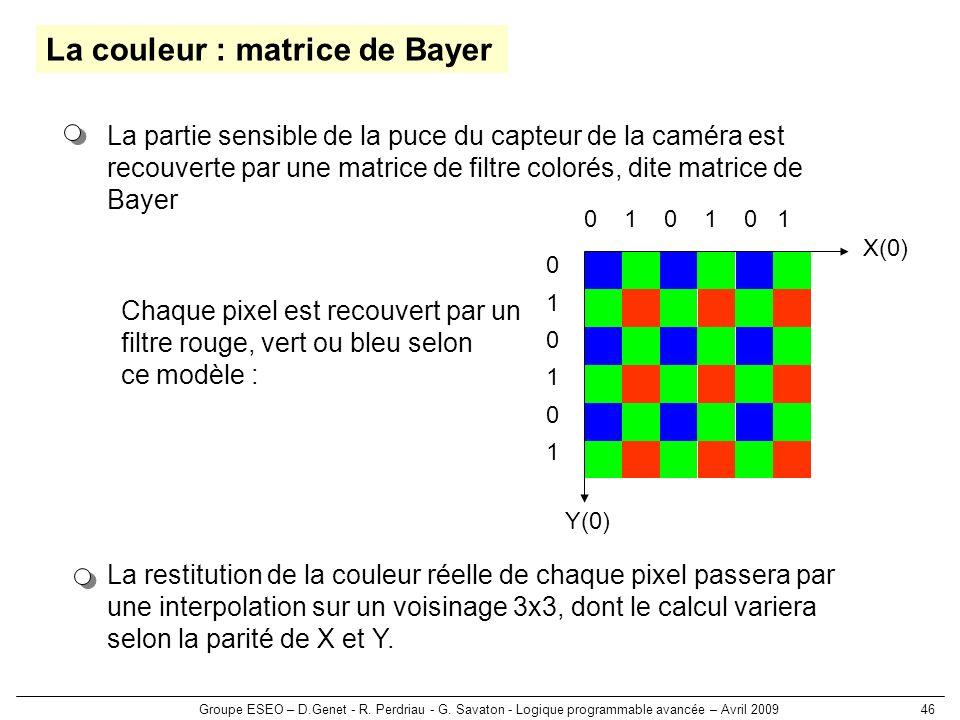 Groupe ESEO – D.Genet - R. Perdriau - G. Savaton - Logique programmable avancée – Avril 200946 La couleur : matrice de Bayer La restitution de la coul