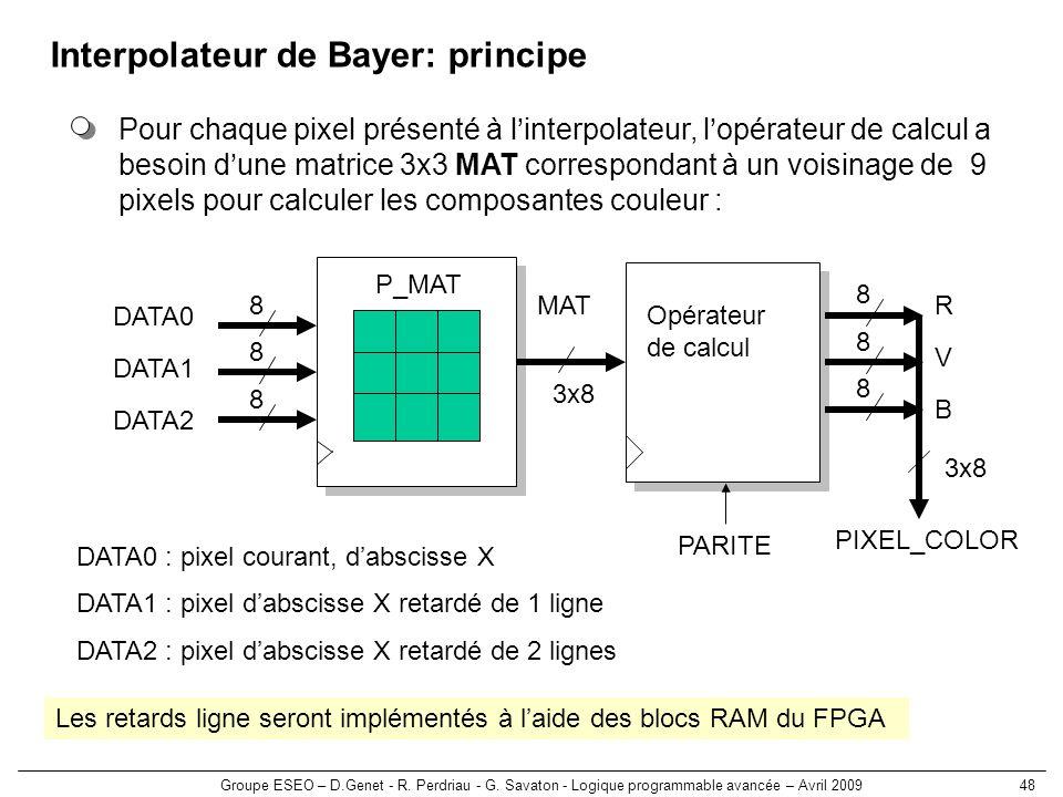 Groupe ESEO – D.Genet - R. Perdriau - G. Savaton - Logique programmable avancée – Avril 200948 Interpolateur de Bayer: principe Pour chaque pixel prés