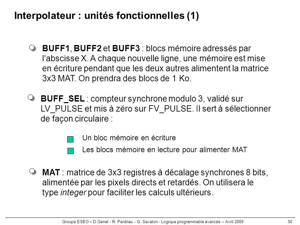 Groupe ESEO – D.Genet - R. Perdriau - G. Savaton - Logique programmable avancée – Avril 200950 Interpolateur : unités fonctionnelles (1) BUFF_SEL : co