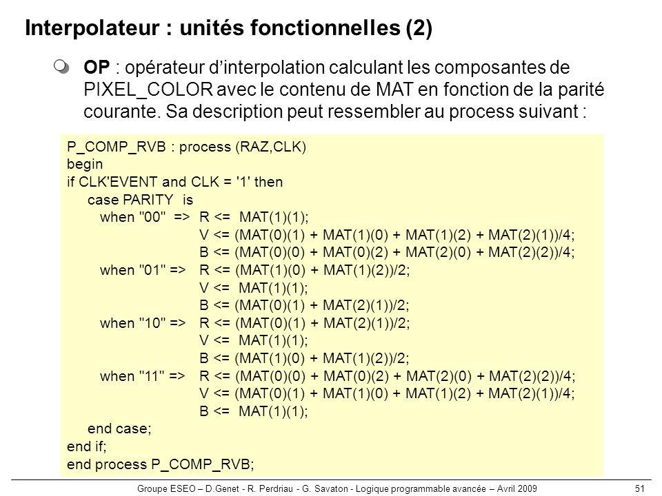 Groupe ESEO – D.Genet - R. Perdriau - G. Savaton - Logique programmable avancée – Avril 200951 Interpolateur : unités fonctionnelles (2) OP : opérateu