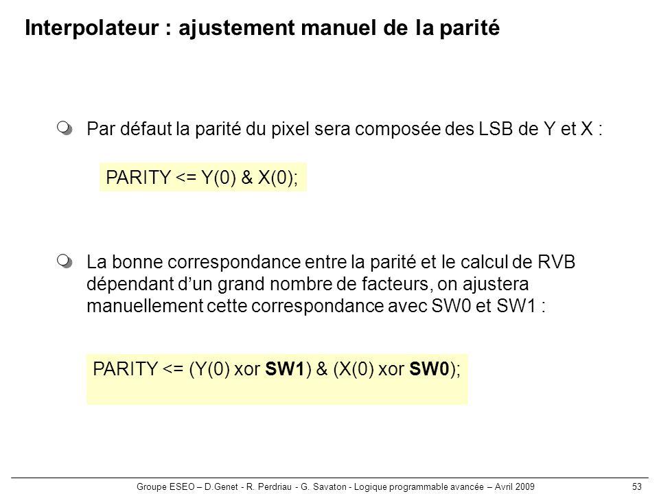 Groupe ESEO – D.Genet - R. Perdriau - G. Savaton - Logique programmable avancée – Avril 200953 Interpolateur : ajustement manuel de la parité La bonne