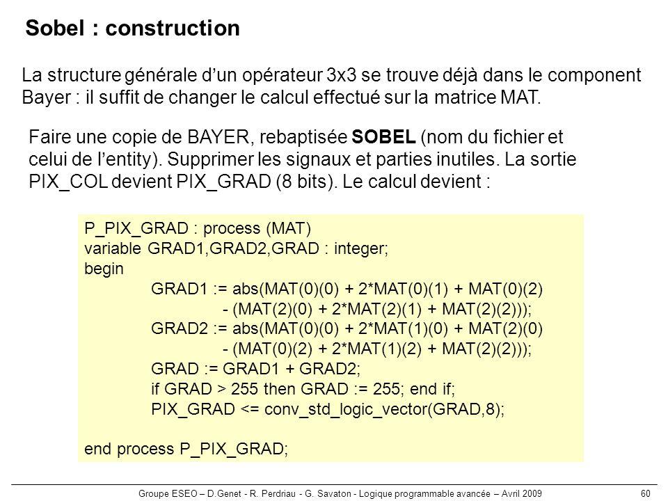 Groupe ESEO – D.Genet - R. Perdriau - G. Savaton - Logique programmable avancée – Avril 200960 Sobel : construction Faire une copie de BAYER, rebaptis