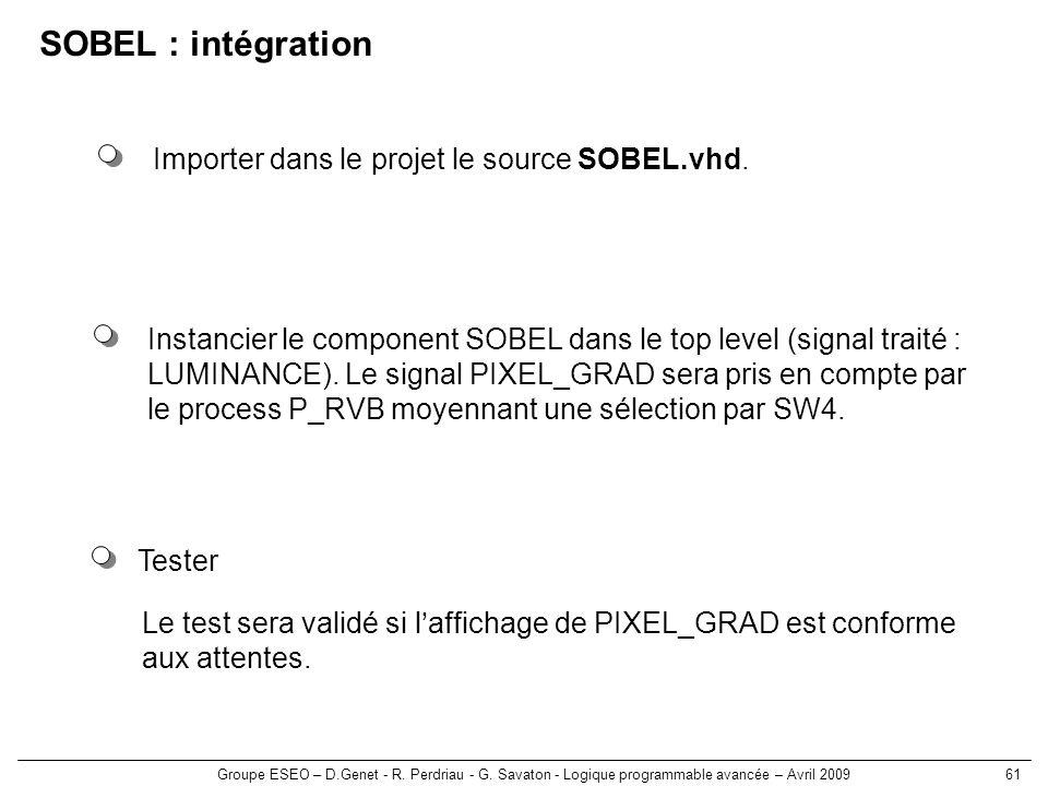 Groupe ESEO – D.Genet - R. Perdriau - G. Savaton - Logique programmable avancée – Avril 200961 SOBEL : intégration Tester Le test sera validé si laffi