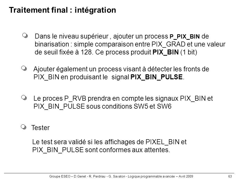 Groupe ESEO – D.Genet - R. Perdriau - G. Savaton - Logique programmable avancée – Avril 200963 Tester Le test sera validé si les affichages de PIXEL_B