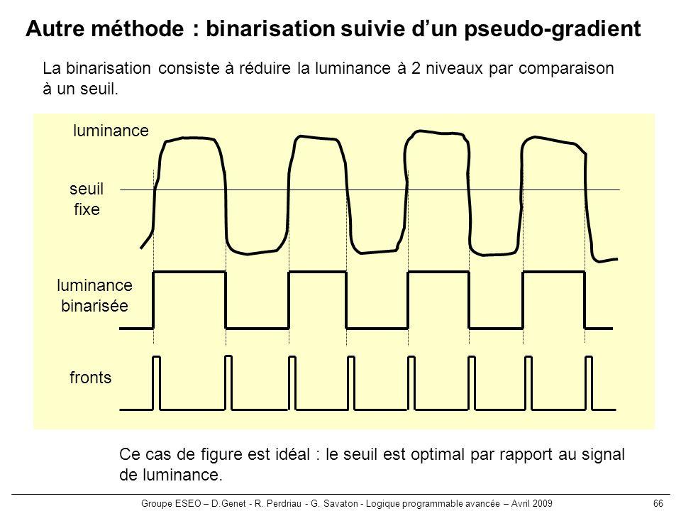 Groupe ESEO – D.Genet - R. Perdriau - G. Savaton - Logique programmable avancée – Avril 200966 Autre méthode : binarisation suivie dun pseudo-gradient