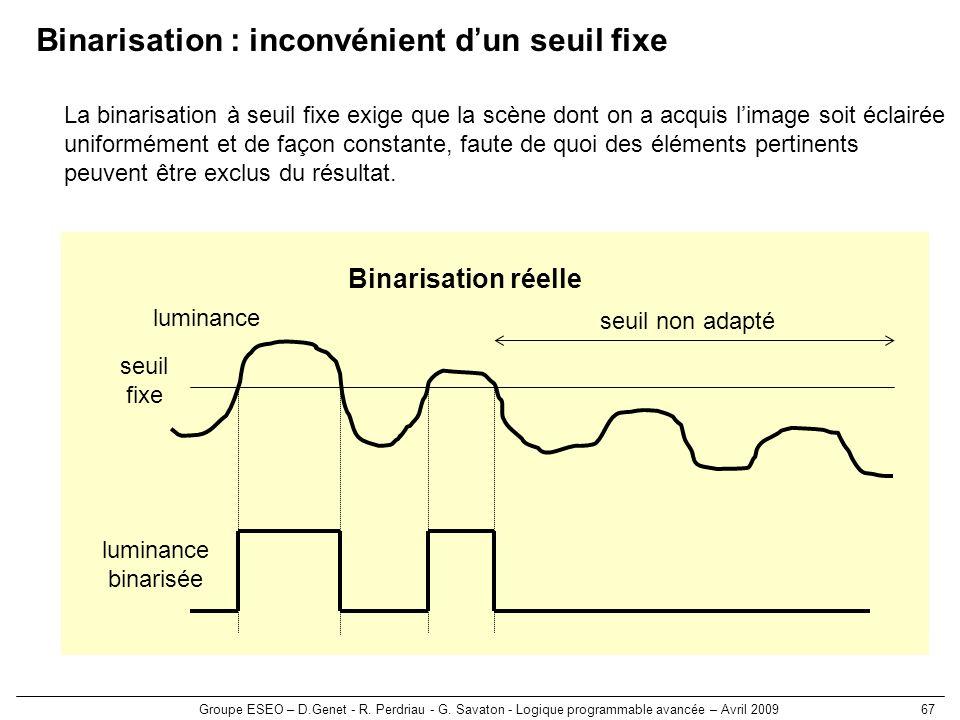 Groupe ESEO – D.Genet - R. Perdriau - G. Savaton - Logique programmable avancée – Avril 200967 seuil fixe luminance binarisée luminance Binarisation r