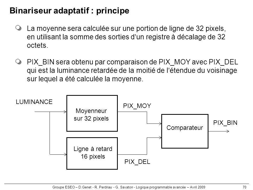 Groupe ESEO – D.Genet - R. Perdriau - G. Savaton - Logique programmable avancée – Avril 200970 Binariseur adaptatif : principe La moyenne sera calculé