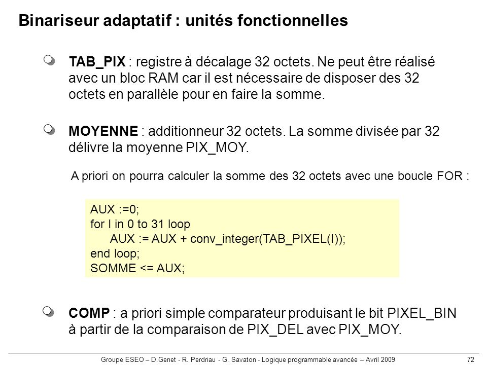 Groupe ESEO – D.Genet - R. Perdriau - G. Savaton - Logique programmable avancée – Avril 200972 Binariseur adaptatif : unités fonctionnelles COMP : a p