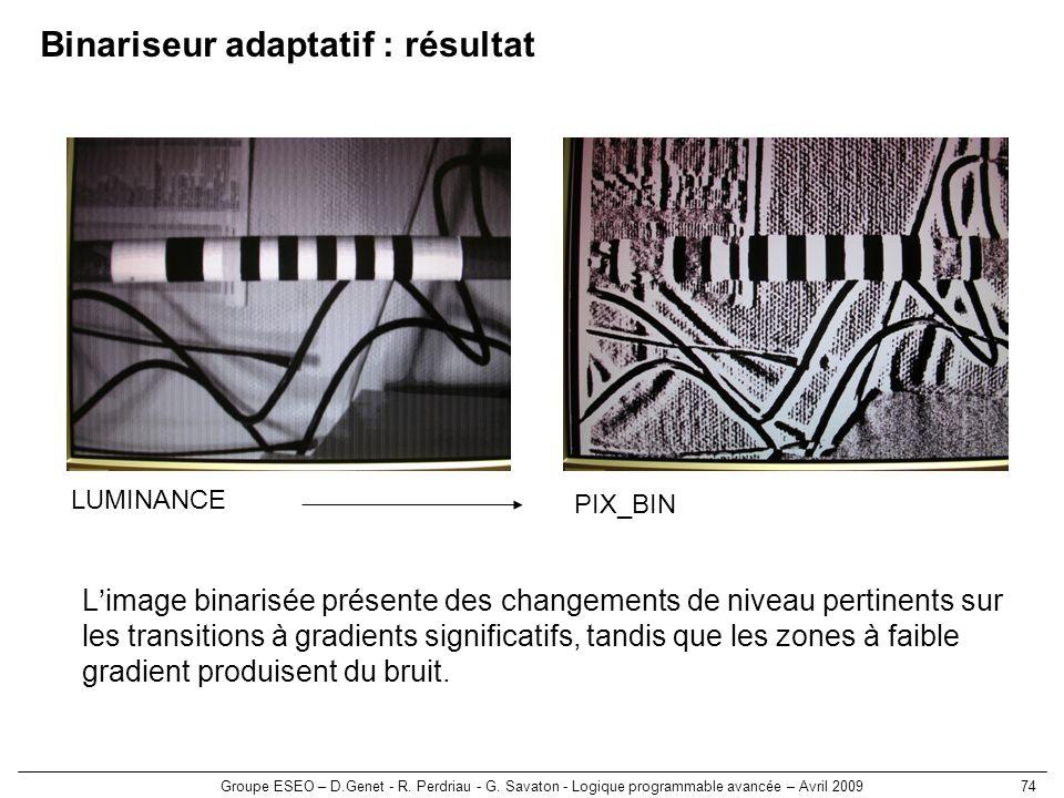 Groupe ESEO – D.Genet - R. Perdriau - G. Savaton - Logique programmable avancée – Avril 200974 Binariseur adaptatif : résultat Limage binarisée présen