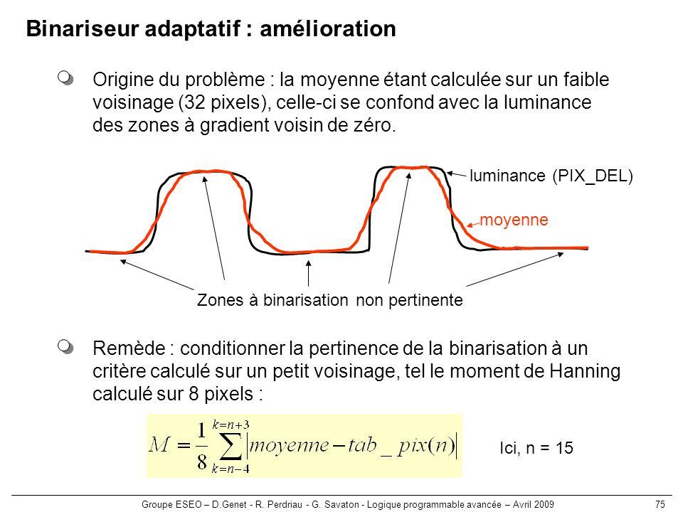 Groupe ESEO – D.Genet - R. Perdriau - G. Savaton - Logique programmable avancée – Avril 200975 Binariseur adaptatif : amélioration Origine du problème