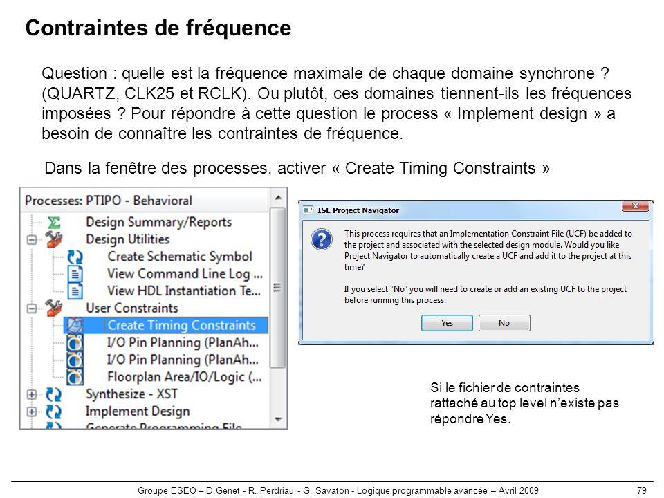 Groupe ESEO – D.Genet - R. Perdriau - G. Savaton - Logique programmable avancée – Avril 200979 Contraintes de fréquence Question : quelle est la fréqu