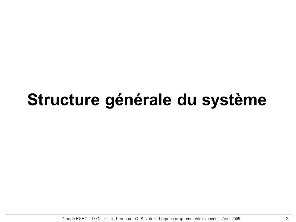 Groupe ESEO – D.Genet - R. Perdriau - G. Savaton - Logique programmable avancée – Avril 20098 Structure générale du système