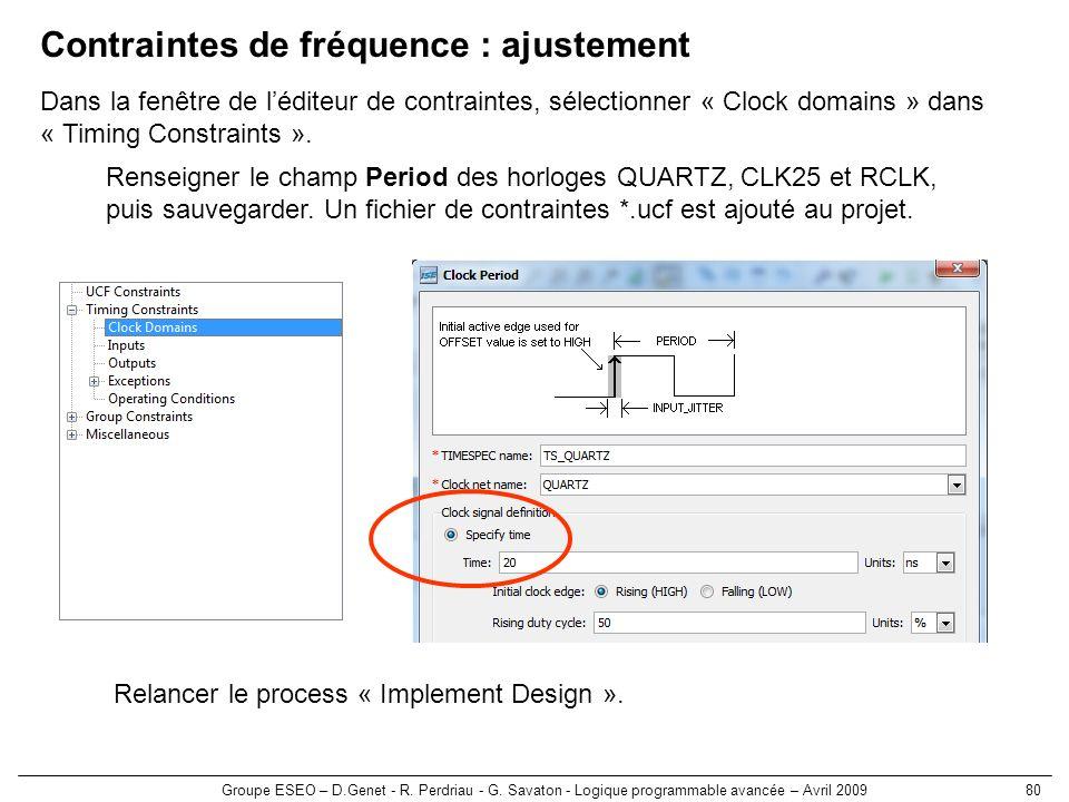 Groupe ESEO – D.Genet - R. Perdriau - G. Savaton - Logique programmable avancée – Avril 200980 Contraintes de fréquence : ajustement Renseigner le cha
