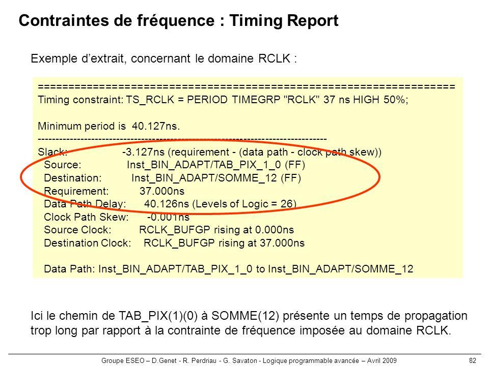 Groupe ESEO – D.Genet - R. Perdriau - G. Savaton - Logique programmable avancée – Avril 200982 Contraintes de fréquence : Timing Report ==============