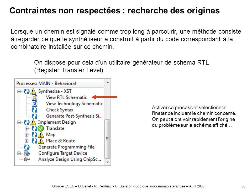 Groupe ESEO – D.Genet - R. Perdriau - G. Savaton - Logique programmable avancée – Avril 200983 Contraintes non respectées : recherche des origines Lor