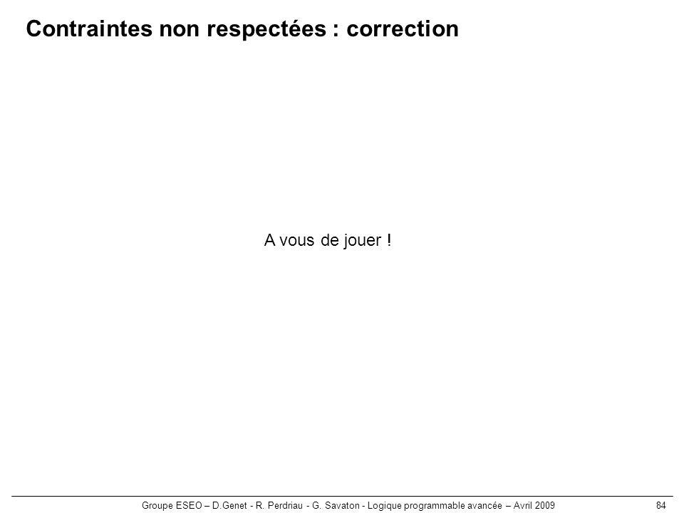 Groupe ESEO – D.Genet - R. Perdriau - G. Savaton - Logique programmable avancée – Avril 200984 Contraintes non respectées : correction A vous de jouer