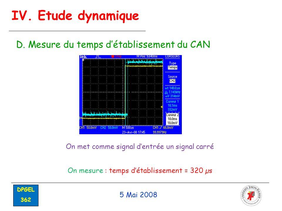 5 Mai 2008 DPGEL 362 IV. Etude dynamique D. Mesure du temps détablissement du CAN On met comme signal dentrée un signal carré On mesure : temps détabl