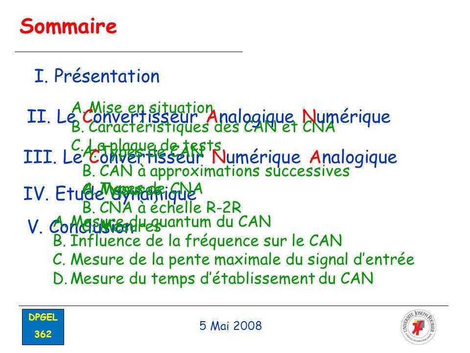 Sommaire 5 Mai 2008 DPGEL 362 I. Présentation A.Mise en situation B.Caractéristiques des CAN et CNA C.La plaque de tests II. Le Convertisseur Analogiq