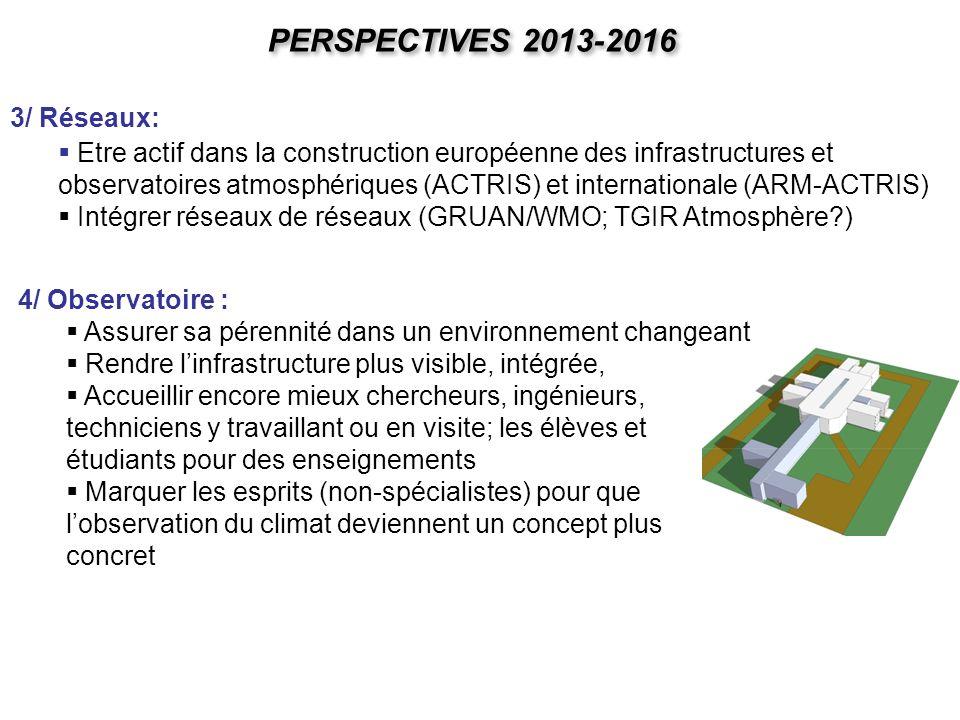 PERSPECTIVES 2013-2016 4/ Observatoire : Assurer sa pérennité dans un environnement changeant Rendre linfrastructure plus visible, intégrée, Accueilli