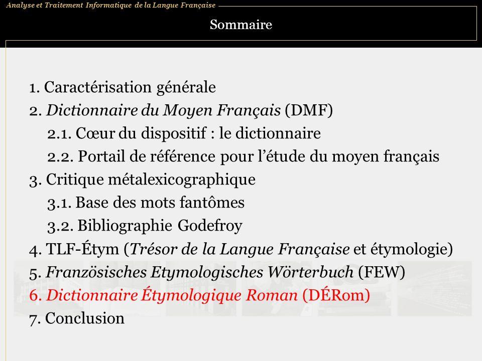 Analyse et Traitement Informatique de la Langue Française Sommaire 1.