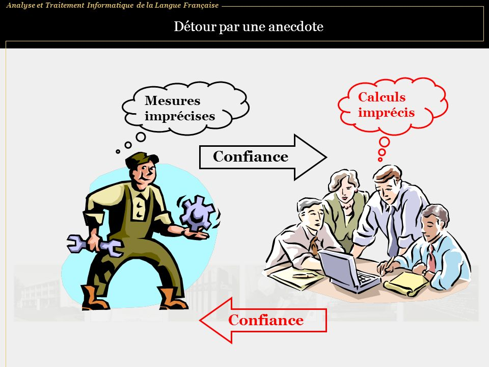 Analyse et Traitement Informatique de la Langue Française Détour par une anecdote Mesures imprécises Confiance Calculs imprécis