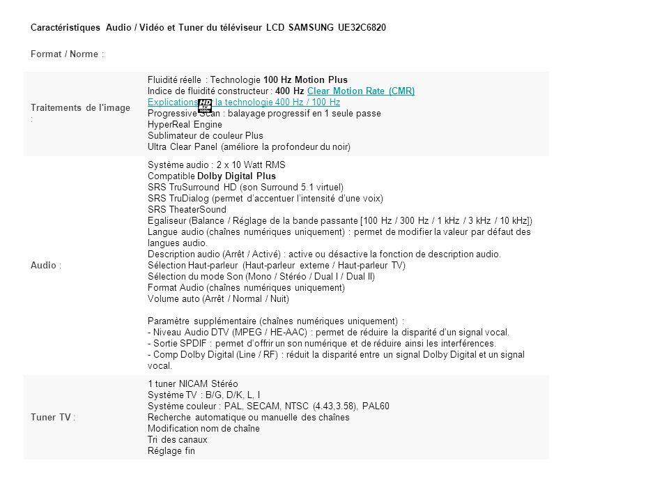 Caractéristiques Audio / Vidéo et Tuner du téléviseur LCD SAMSUNG UE32C6820 Format / Norme : Traitements de l image : Fluidité réelle : Technologie 100 Hz Motion Plus Indice de fluidité constructeur : 400 Hz Clear Motion Rate (CMR) Explications sur la technologie 400 Hz / 100 Hz Progressive Scan : balayage progressif en 1 seule passe HyperReal Engine Sublimateur de couleur Plus Ultra Clear Panel (améliore la profondeur du noir)Clear Motion Rate (CMR) Explications sur la technologie 400 Hz / 100 Hz Audio : Système audio : 2 x 10 Watt RMS Compatible Dolby Digital Plus SRS TruSurround HD (son Surround 5.1 virtuel) SRS TruDialog (permet daccentuer lintensité dune voix) SRS TheaterSound Egaliseur (Balance / Réglage de la bande passante [100 Hz / 300 Hz / 1 kHz / 3 kHz / 10 kHz]) Langue audio (chaînes numériques uniquement) : permet de modifier la valeur par défaut des langues audio.