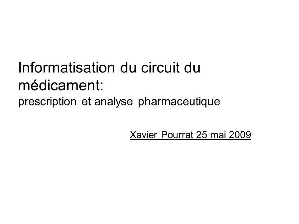 Informatisation du circuit du médicament: prescription et analyse pharmaceutique Xavier Pourrat 25 mai 2009