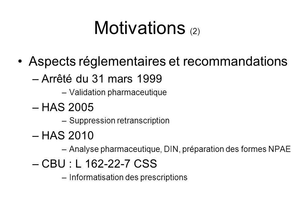 Motivations (2) Aspects réglementaires et recommandations –Arrêté du 31 mars 1999 –Validation pharmaceutique –HAS 2005 –Suppression retranscription –H