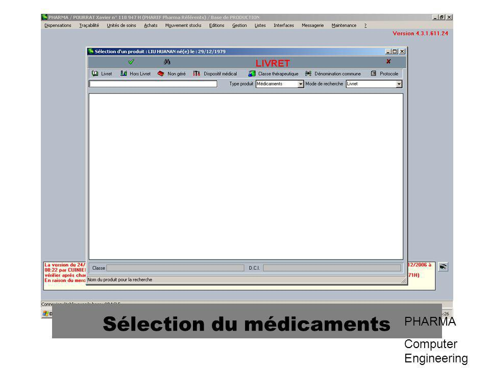 Sélection du médicaments PHARMA Computer Engineering