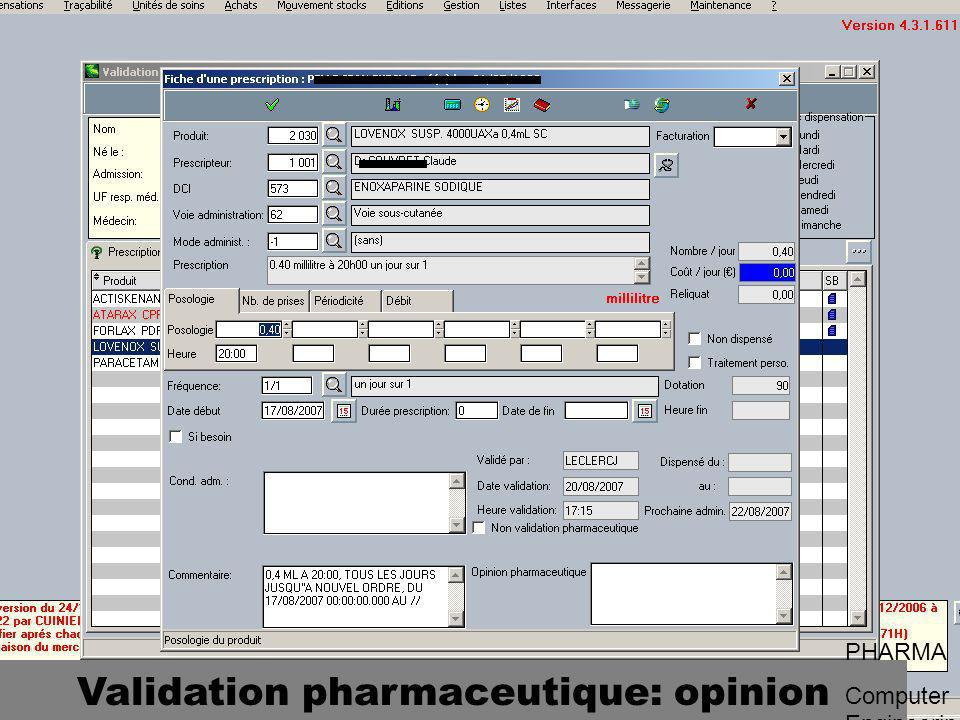 Validation pharmaceutique: opinion PHARMA Computer Engineering