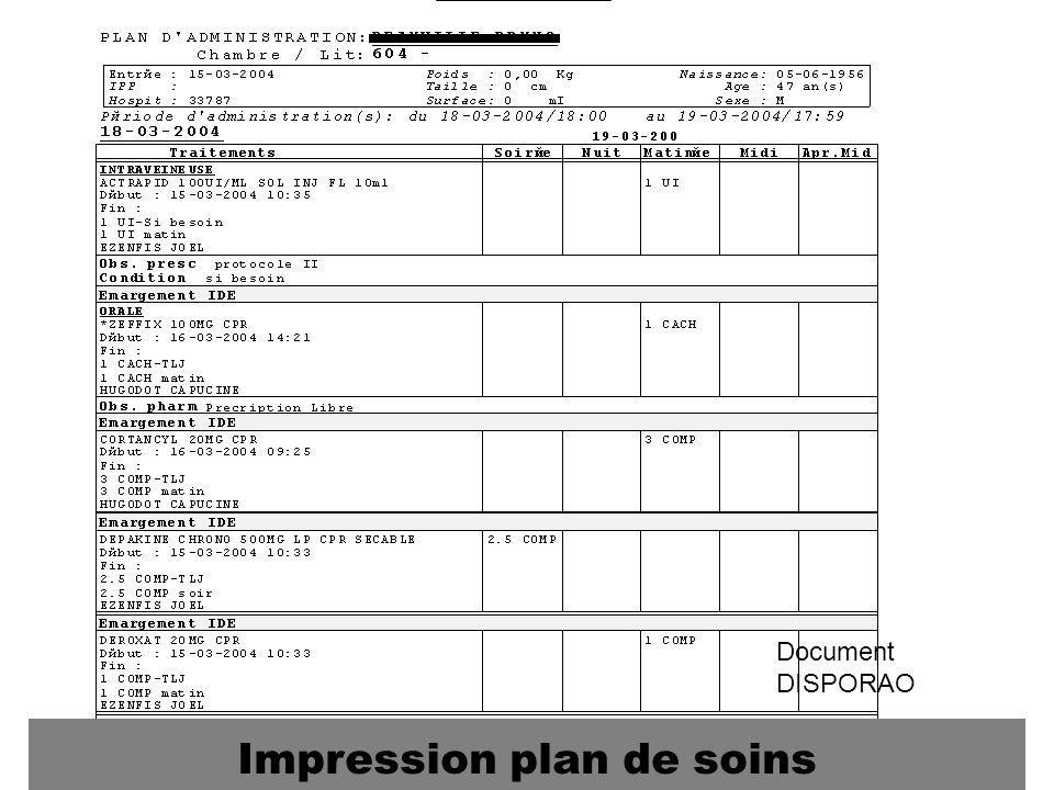 Document DISPORAO Impression plan de soins