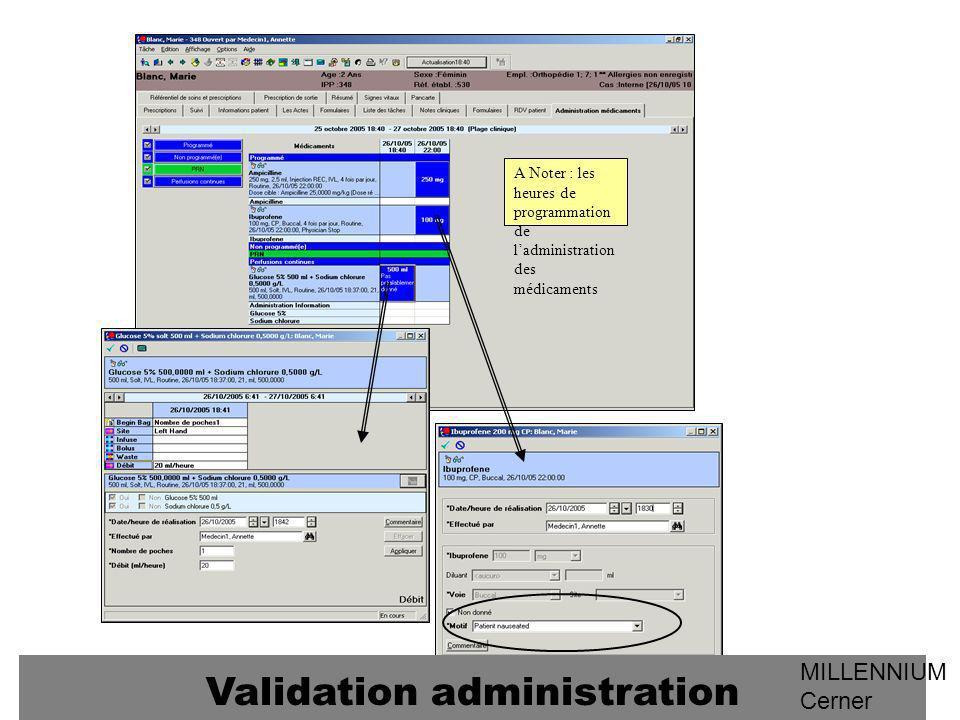 A Noter : les heures de programmation de ladministration des médicaments Validation administration MILLENNIUM Cerner