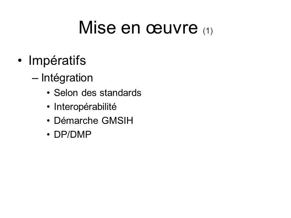 Mise en œuvre (1) Impératifs –Intégration Selon des standards Interopérabilité Démarche GMSIH DP/DMP