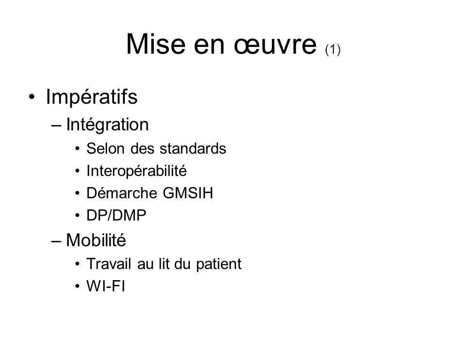 Mise en œuvre (1) Impératifs –Intégration Selon des standards Interopérabilité Démarche GMSIH DP/DMP –Mobilité Travail au lit du patient WI-FI