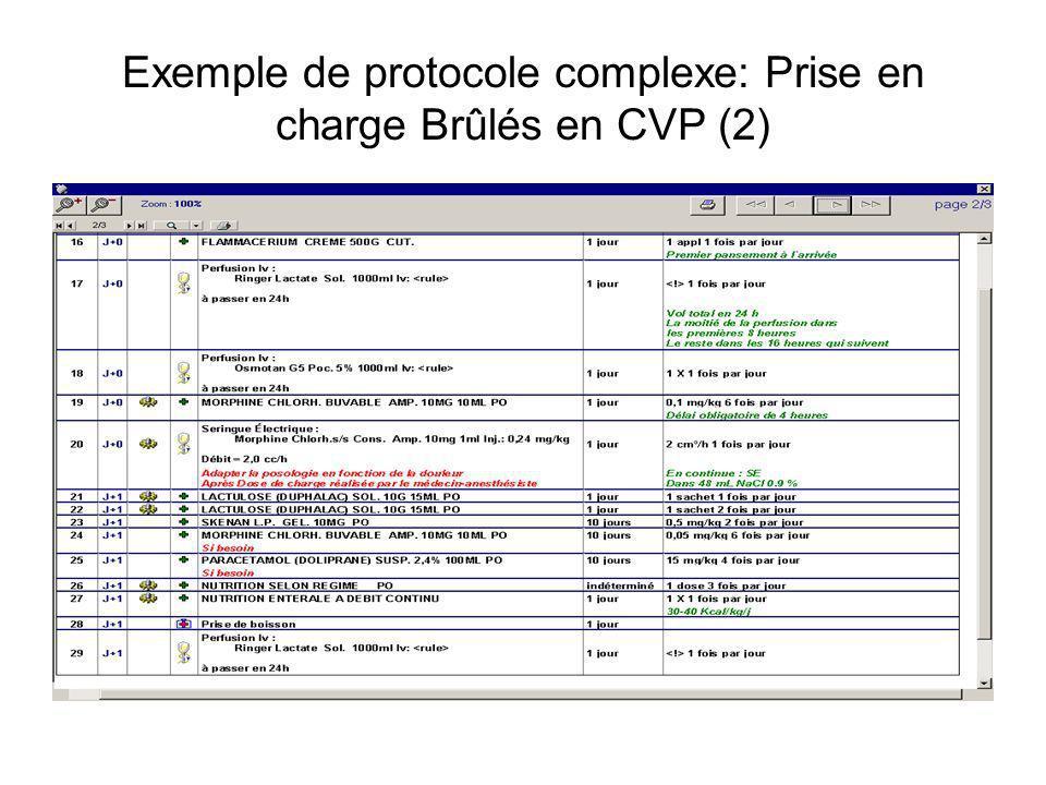 Exemple de protocole complexe: Prise en charge Brûlés en CVP (2)