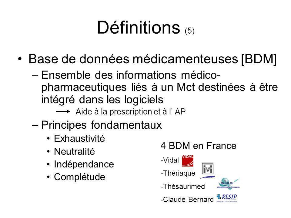 Définitions (5) Base de données médicamenteuses [BDM] –Ensemble des informations médico- pharmaceutiques liés à un Mct destinées à être intégré dans l