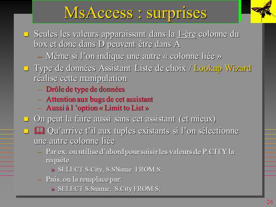 25 MsAccess : domaines n On peut les simuler (en QBE) par : –une table D source de valeurs »table de la base ou une liste de valeurs –une zone de texte modifiable (combo-box) sur lattribut A à valeurs dans D »déclaré dans la définition de A (partie Liste de choix /Lookup) –une requête déclarée dans la définition de A (dans « contenu / row source » )