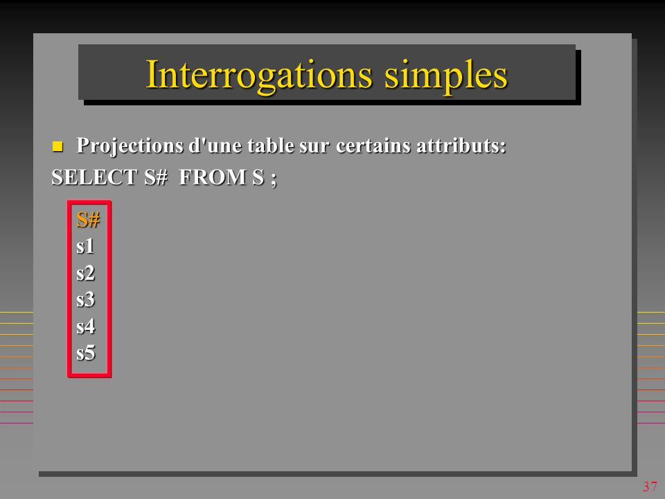 36 Interrogations simples n Projections d une table sur certains attributs: SELECT S# FROM S ;