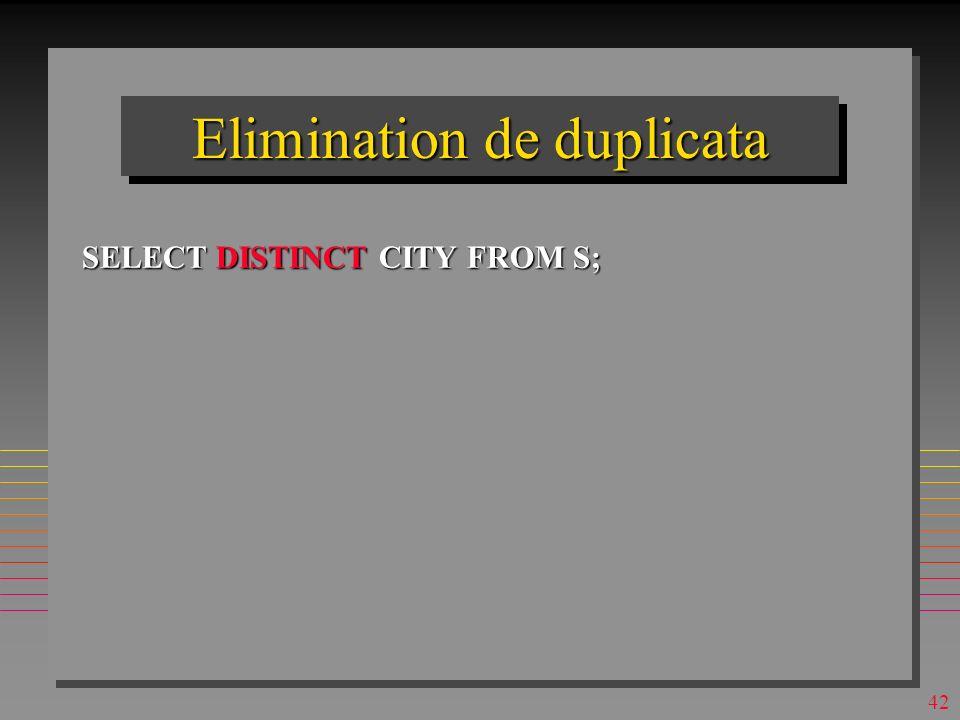 41 Selection avec duplicata SELECT CITY FROM S; –Le resultat peut avoir les duplicata – alors, il n est pas une relation, mais un bag
