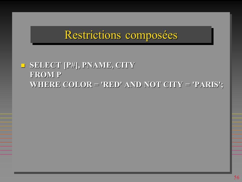55 Restrictions simples SELECT [P#], PNAME FROM P WHERE COLOR = RED ; Product IDProduct Name p1nuts p4screw p6cog n Les noms d attributs sont les labels fixés à la création de P n L ordre de tuples délivrés est définit par le SGBD et peut changer d une execution à l autre