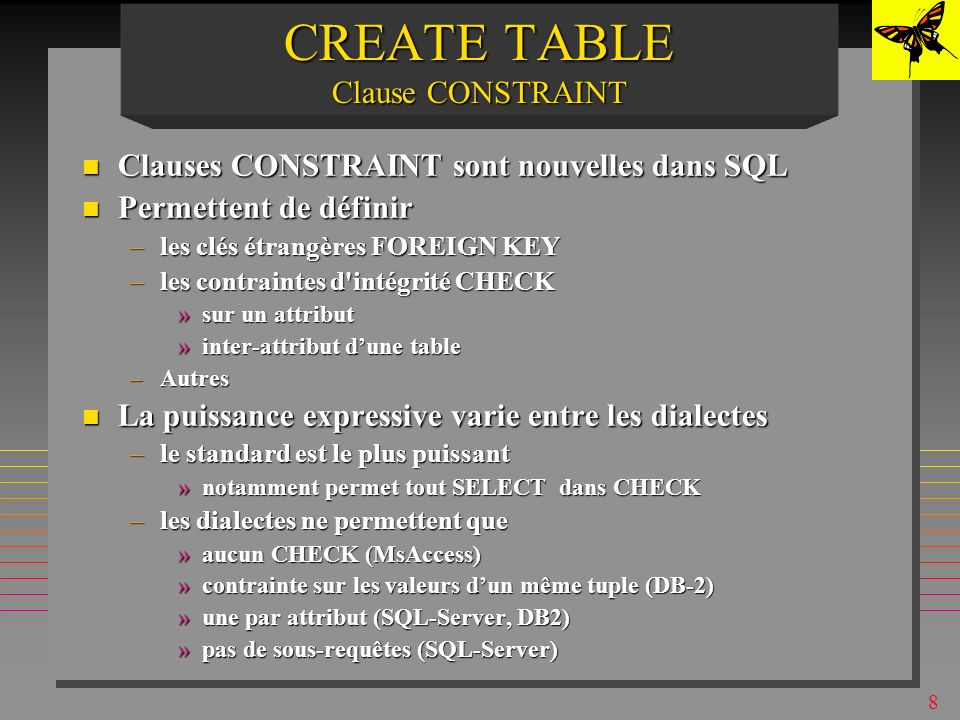 7 EXAMPLEEXAMPLE CREATE TABLE S (S# CHAR (5)NOT NULL, SNAME CHAR (20), STATUSINT, CITYCHAR (15), PRIMARY KEY (S#) ) ;